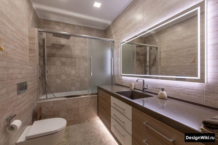 столешница из акрила в интерьере ванной комнаты