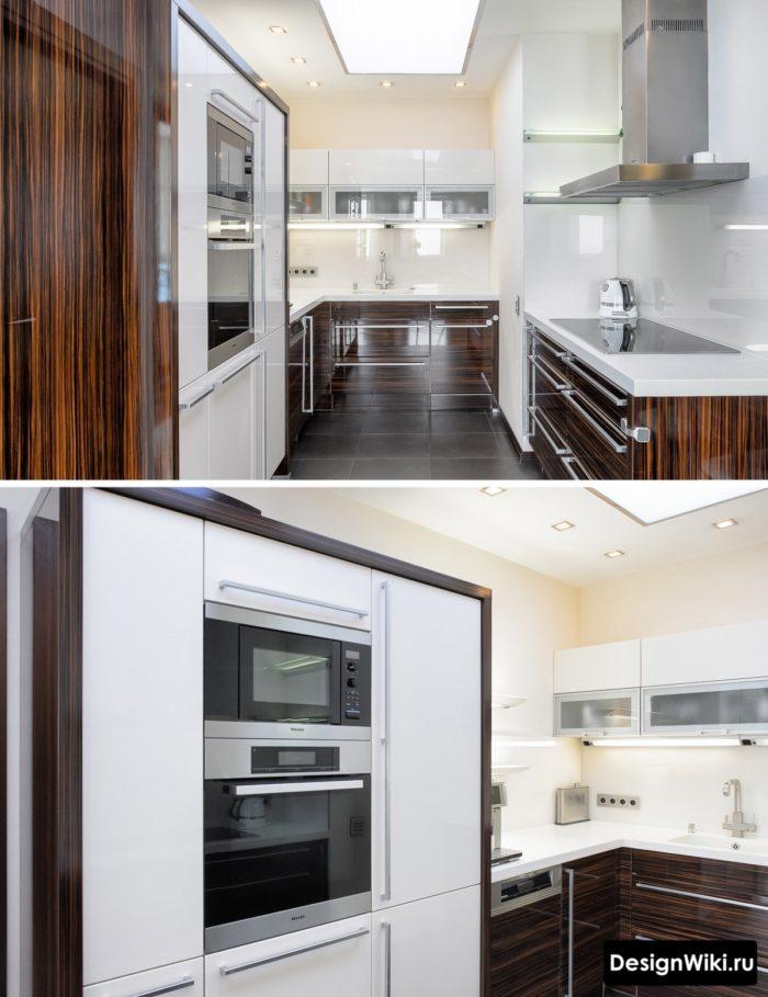 Белая кухня с красным глянцевым деревом