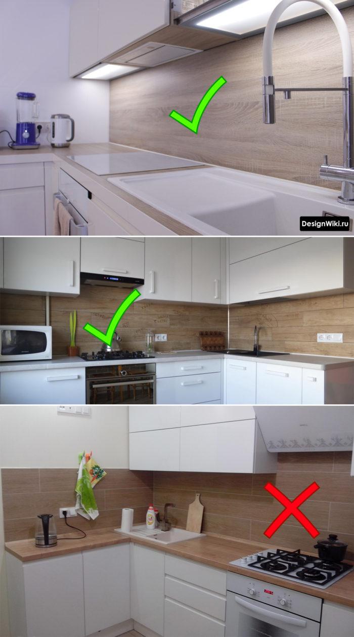 Выбор фартука для белой с деревом кухни
