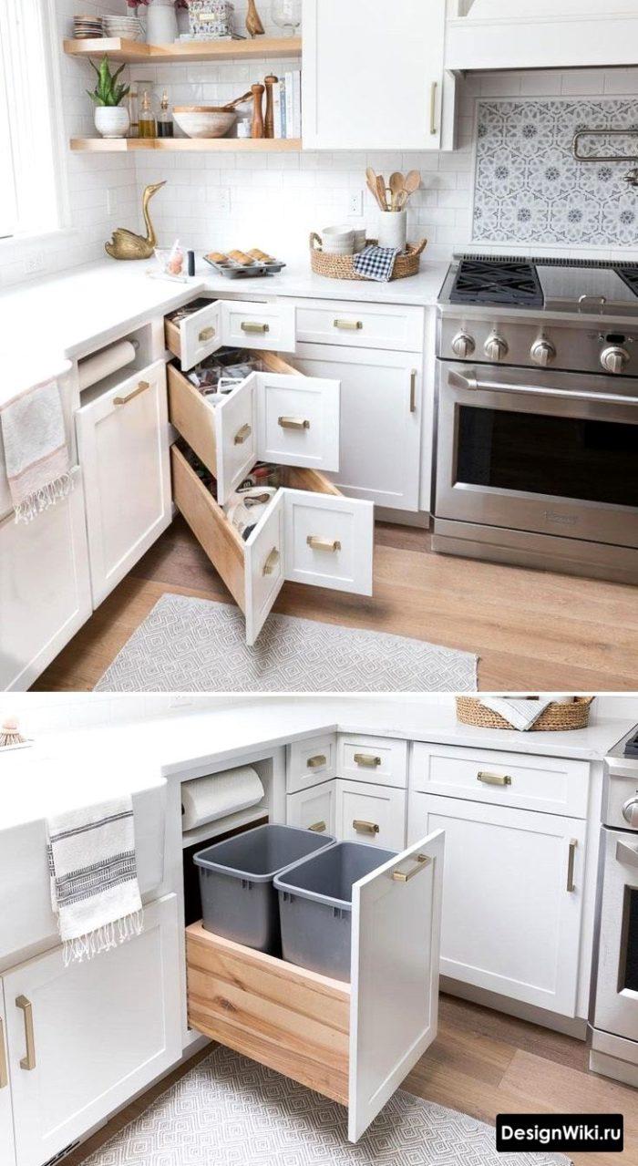 Выдвижная фурнитура для нижнего угла маленькой кухни
