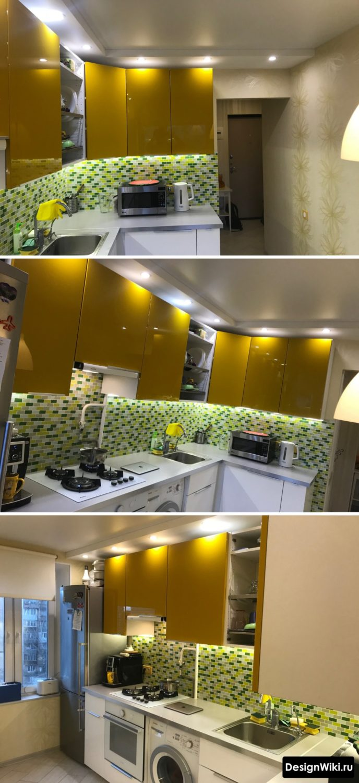 Глянцевый оранжевый угловой кухонный гарнитур для маленькой кухни