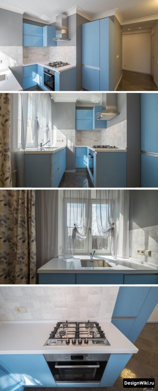 Голубой кухонный гарнитур необычной формы