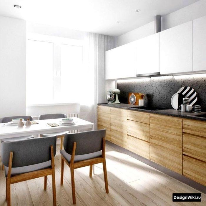 Деревянный низ белый верх на кухне