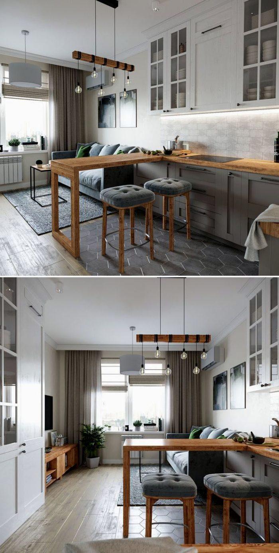 Дизайн кухни-гостиной в сером цвете