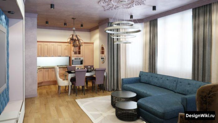 Дизайн кухни-столовой-гостиной в стиле арт-деко