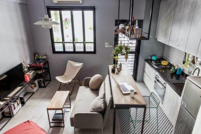 Дизайн маленькой кухни-гостиной в скандинавском стиле