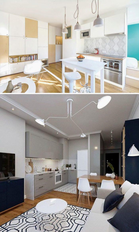 Дизайн маленькой кухни-гостиной в стиле минимализм