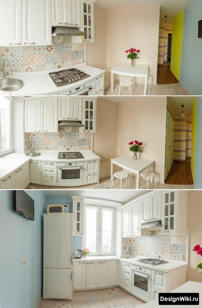Дизайн маленькой угловой кухни в стиле прованс