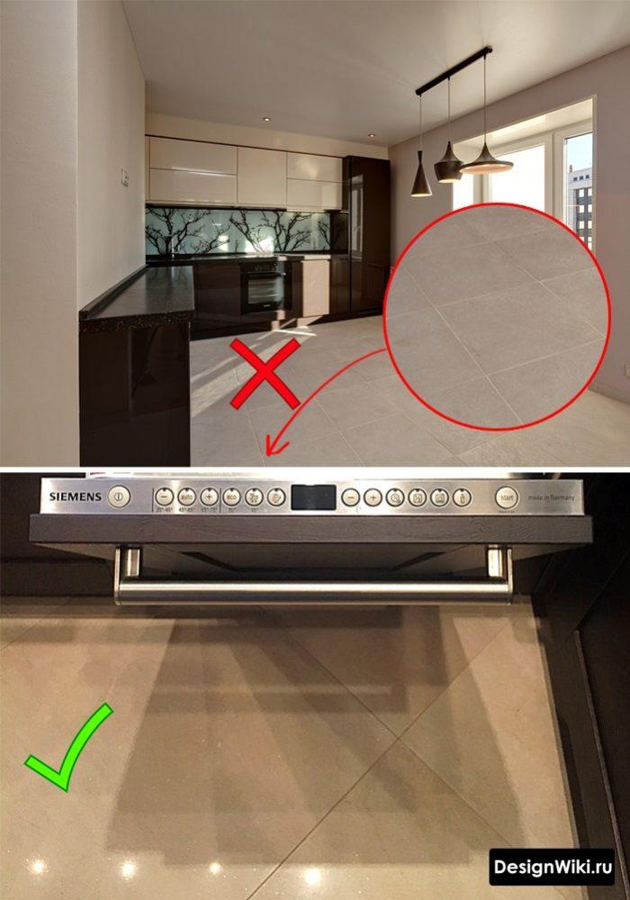 Дизайн пола кухни с плиткой ректификат и серой затиркой и обычной