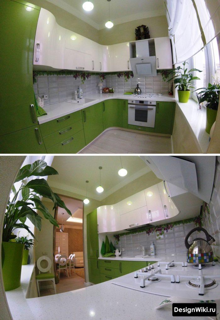 Зеленый низ белый верх углового гарнитура для маленькой кухни