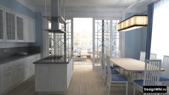 Интерьер кухни с островом и большим обеденным столом