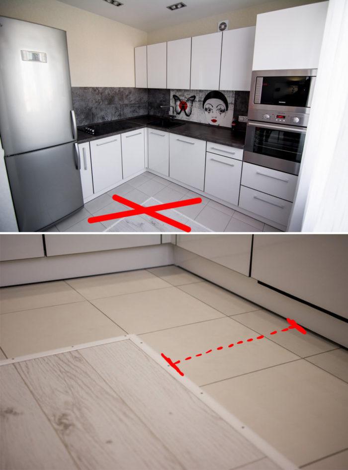 Какого размера делать зону из плитки на кухне
