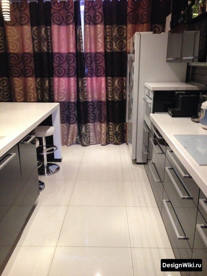 Квадратный белый керамогранит 60x60 для пола кухни