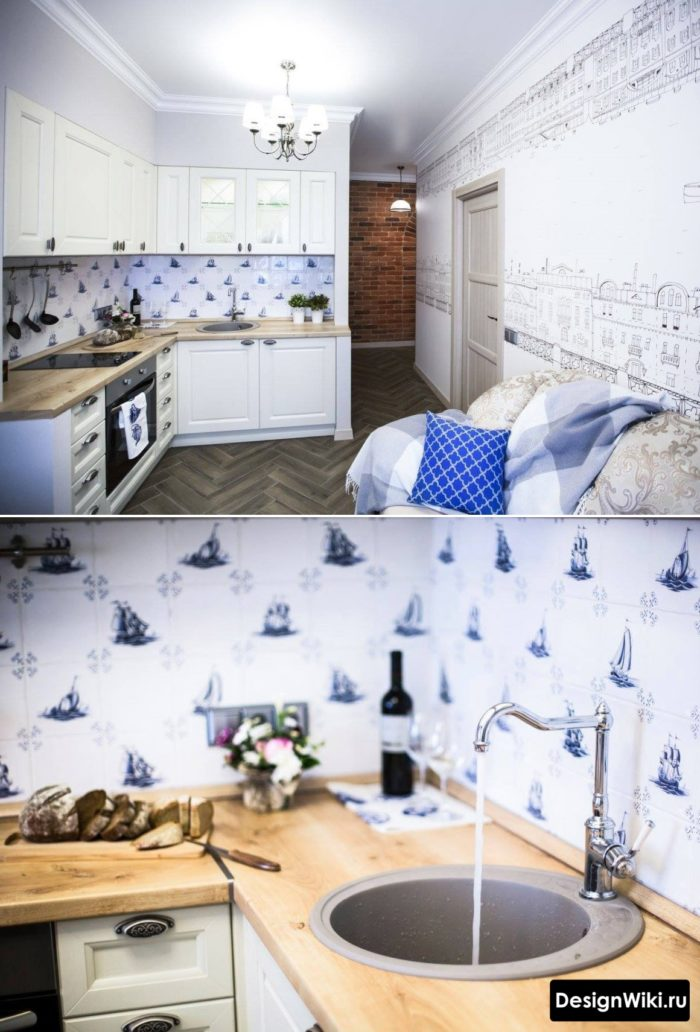 Классическая белая кухня со столешницей под дерево