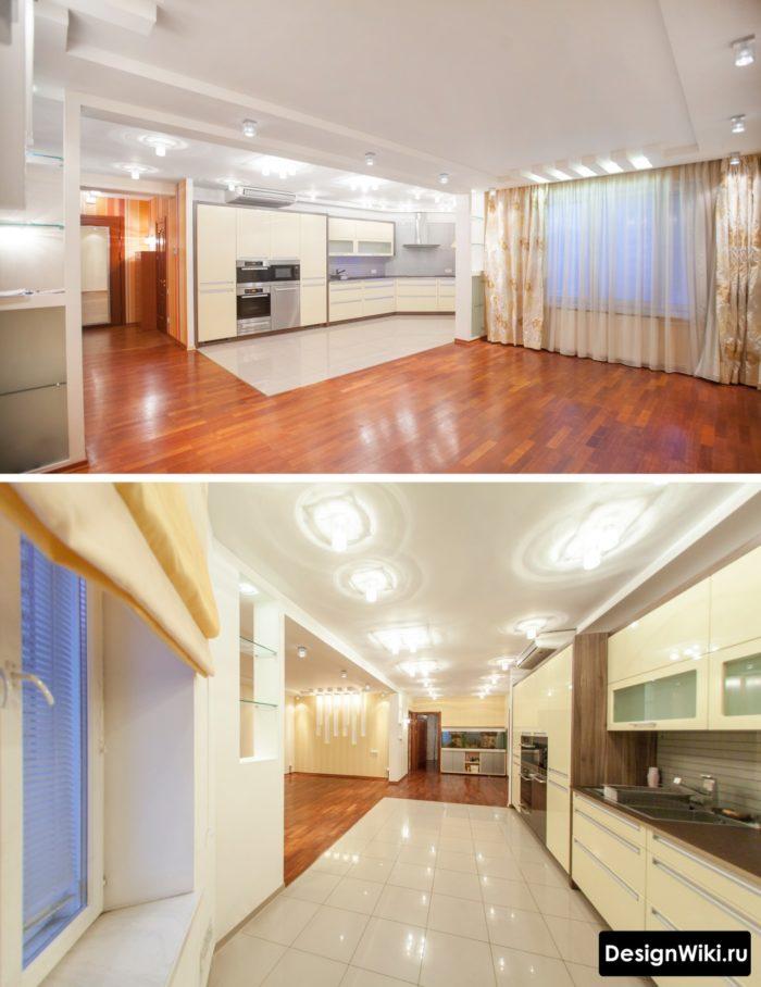 Комбинированный пол в кухне-гостиной и переход с плитки на ламинат