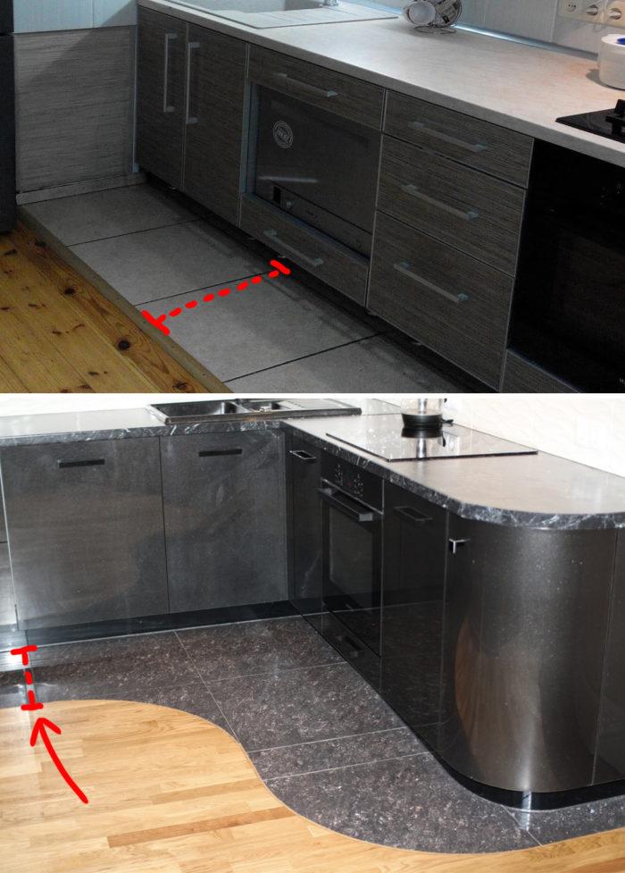 Комбинированный пол кухне - плитка и ламинат