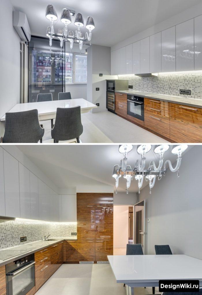 Красивая белая кухня с глянцевым деревом