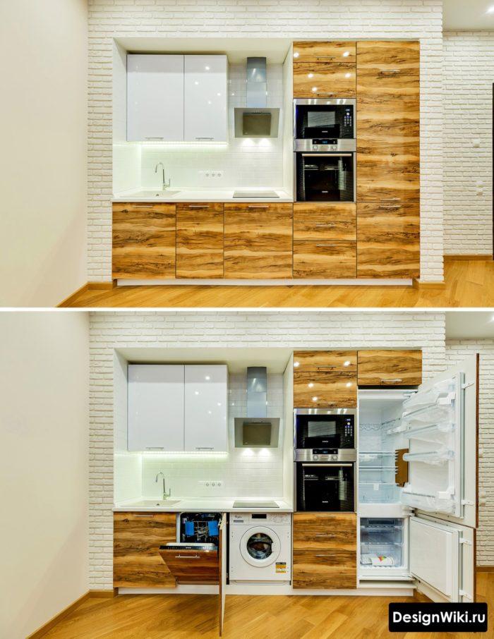 Красивый встроенный прямой кухонный гарнитур для маленькой кухни