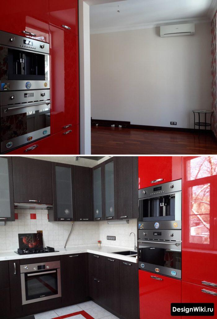 Красно-черный угловой кухонный гарнитур