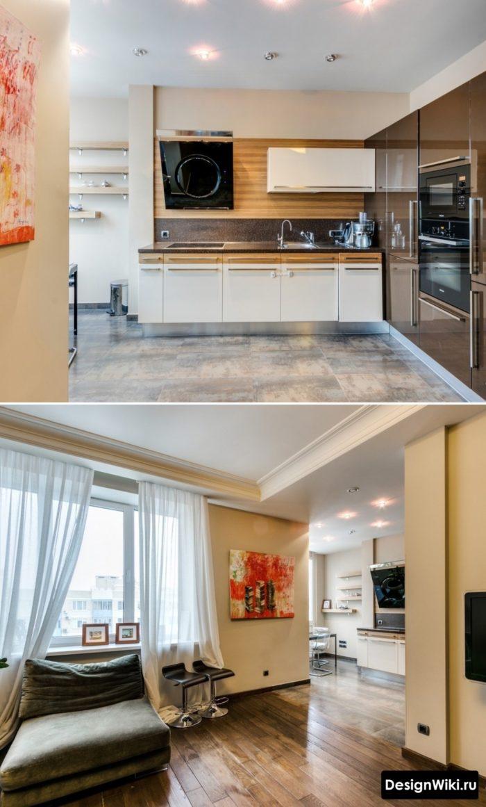 Крупная плитка под металл на кухне и переход на паркет