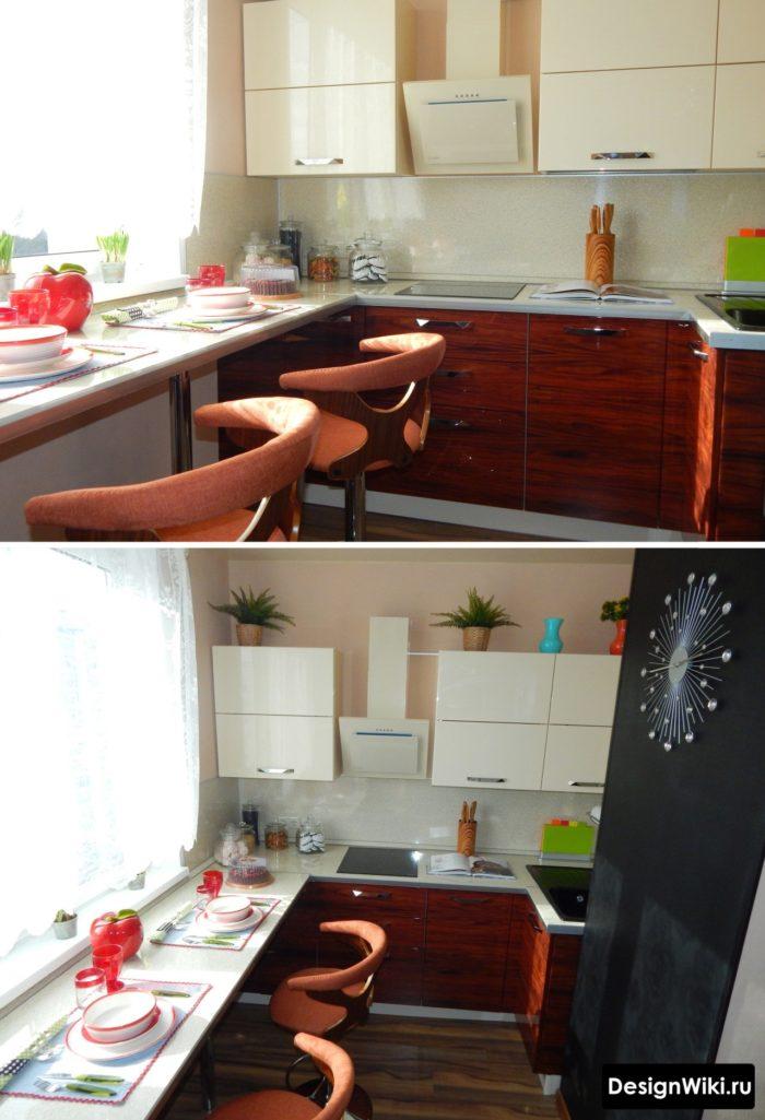 Маленькая кухня с барной стойкой у окна
