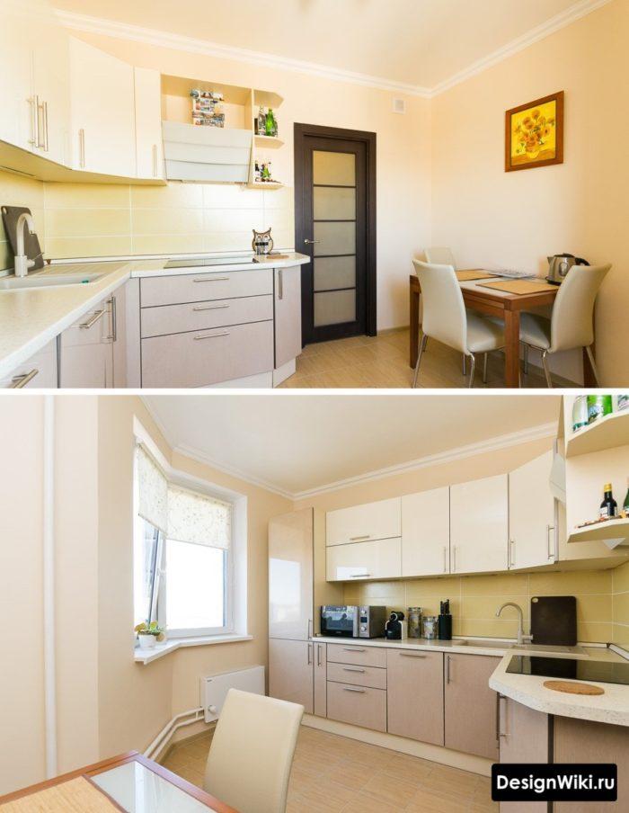 Недорогой кухонный гарнитур для маленькой кухни из ДСП