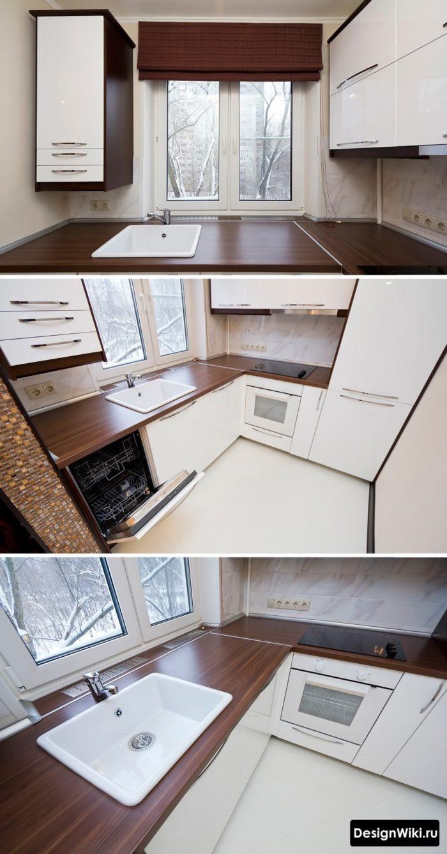 Необычная идея расстановки мебели в маленькой угловой кухне