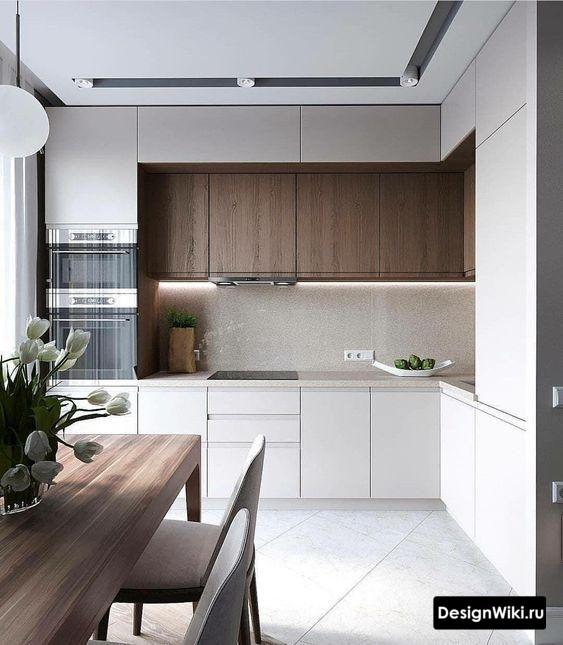 Тёмно-коричневое дерево в белой кухне