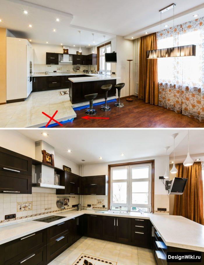 Подиум на полу в кухне-гостиной не стоит того