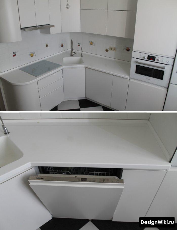 Полностью белая кухня в хрущевке