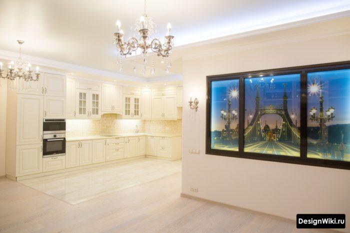 Правильный переход между плиткой и ламинатом на полу кухни-гостиной