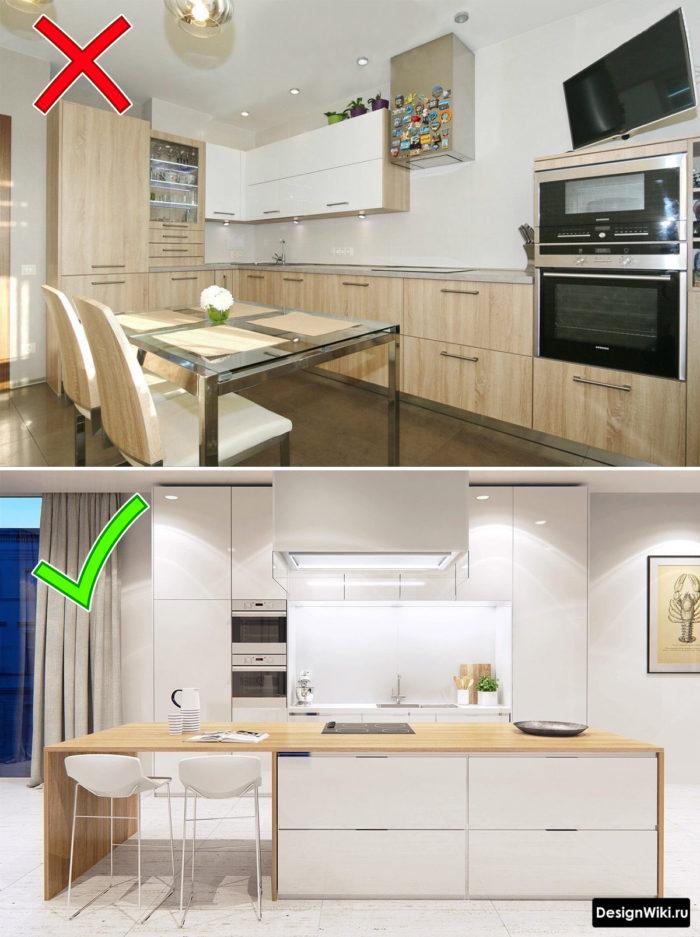 Пропорция белого и дерева на кухне
