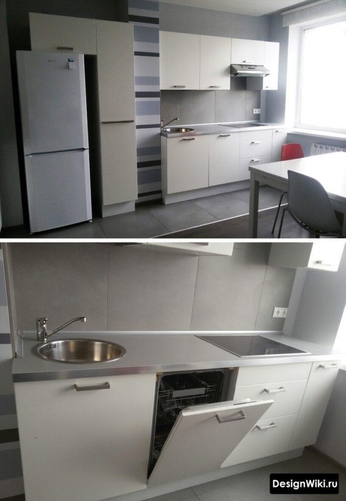 Простой белый кухонный гарнитур изготовленный под индивидуальные размеры