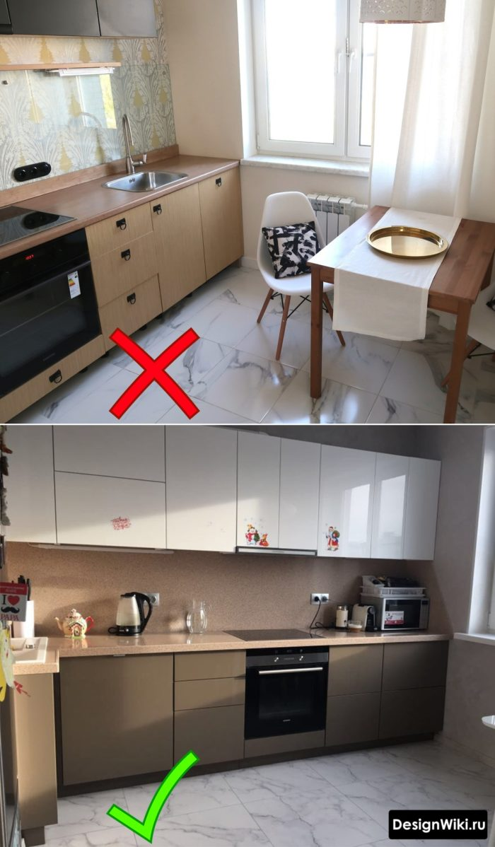 Разная плитка под мрамор на полах кухонь