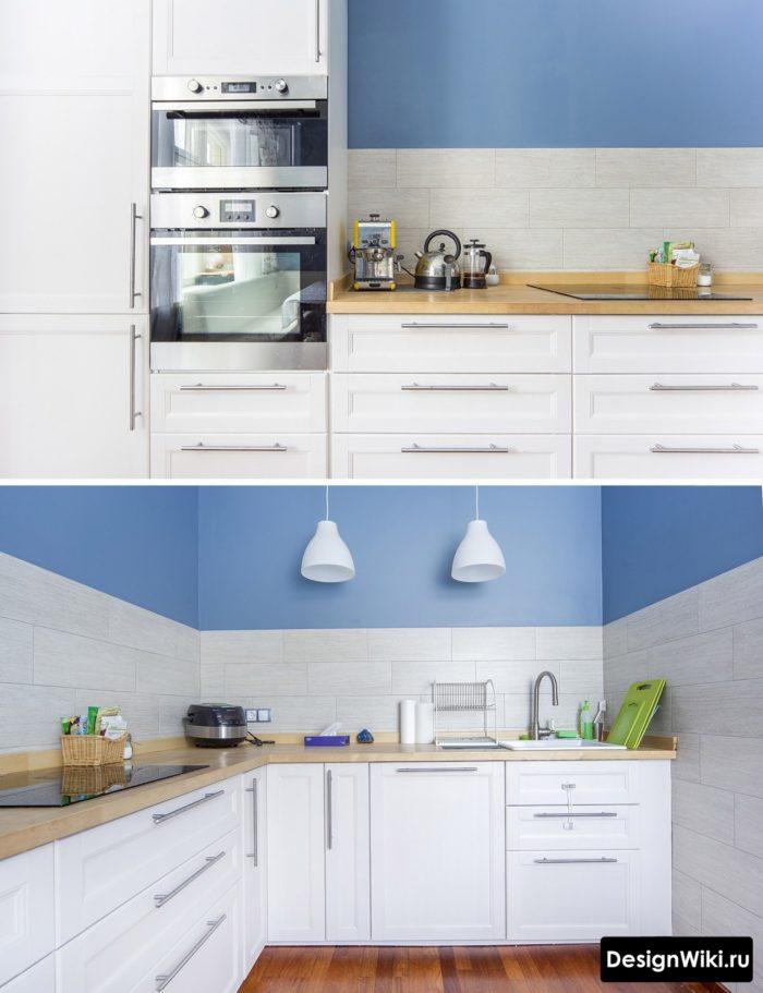 Скандинавская белая кухня с деревянной столешницей без верхних шкафов