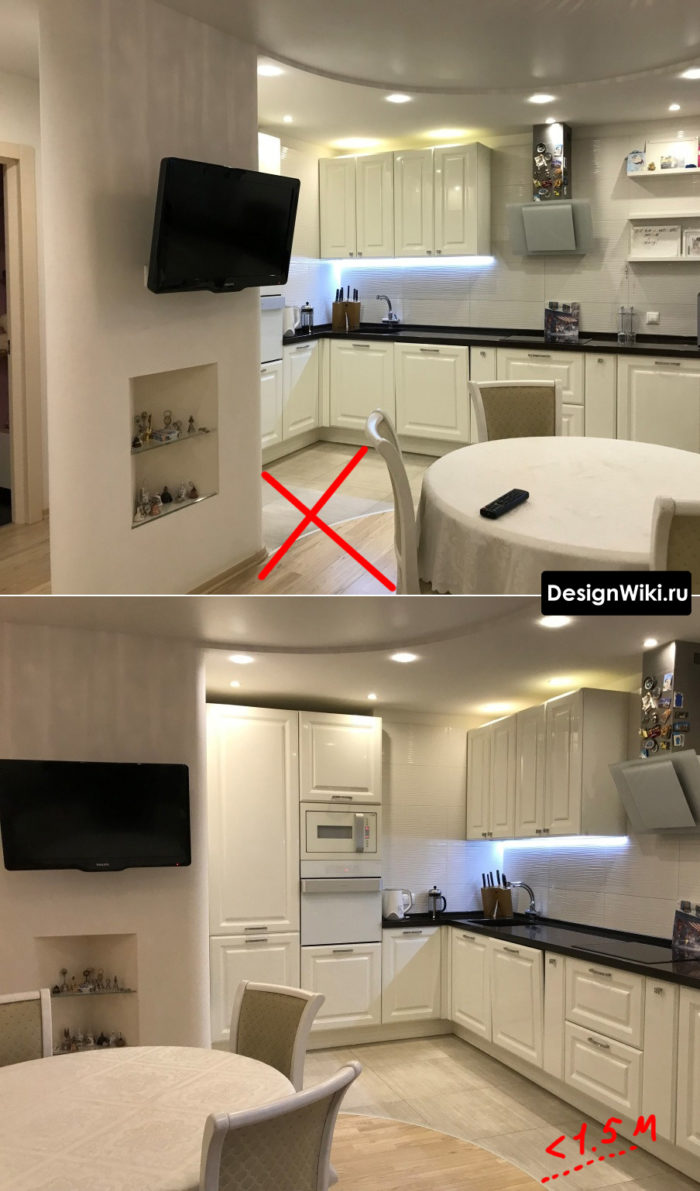 Скругленный переход с плитки на ламинат на кухне