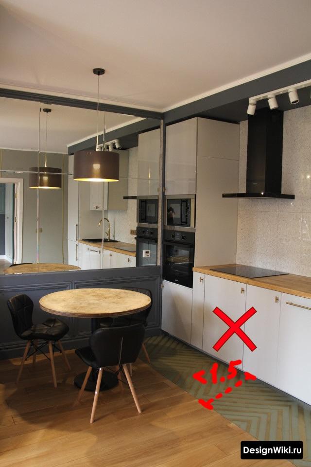Слишком маленькая зона из плитки на кухне