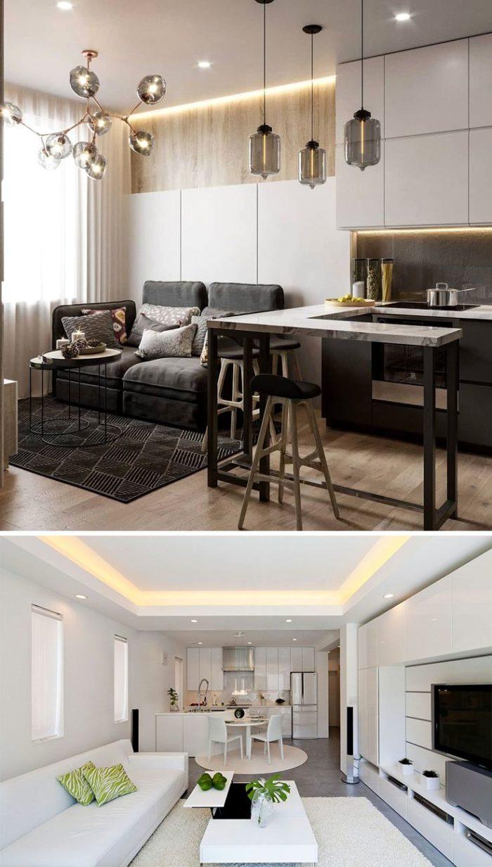 Сочетание белого цвета и дерева в интерьере кухонь-гостиных в стиле минимализм
