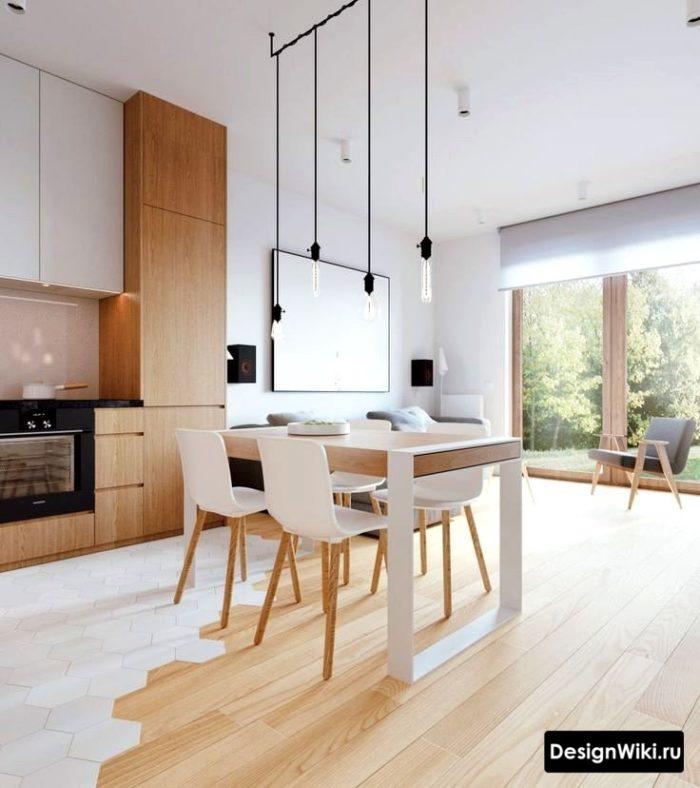Сочетание белого цвета и дерева с современном интерьере кухни