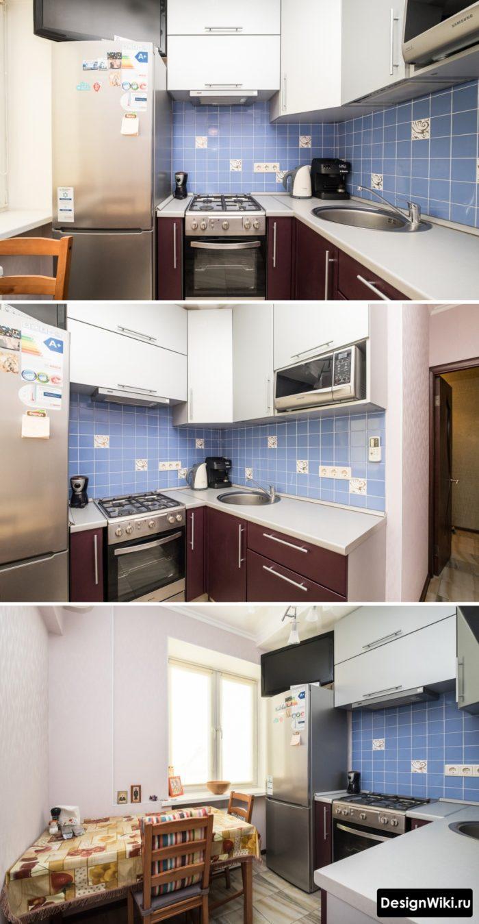 Стандартное угловое размещение мебели в очень маленькой кухне