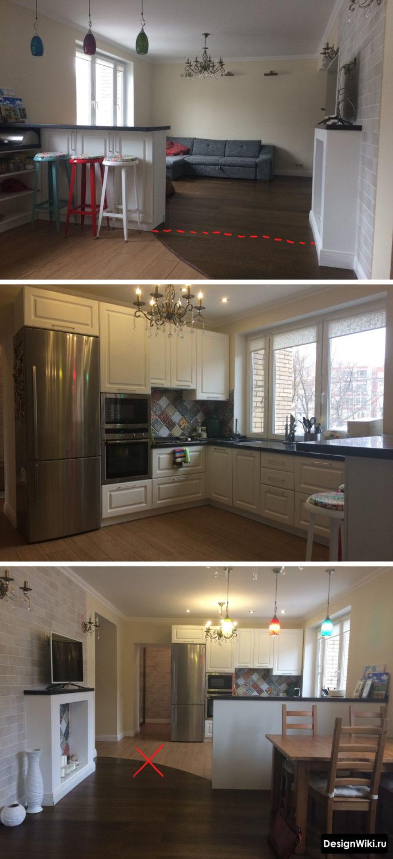 Стык пола между зоной кухни и гостиной