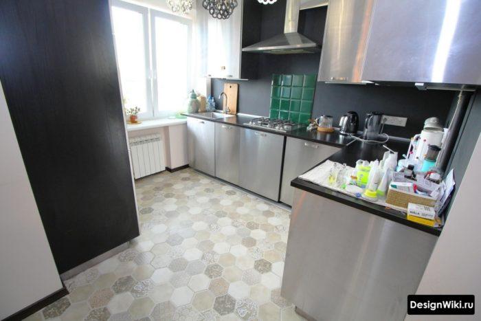Шестиугольная плитка с узором для пола кухни