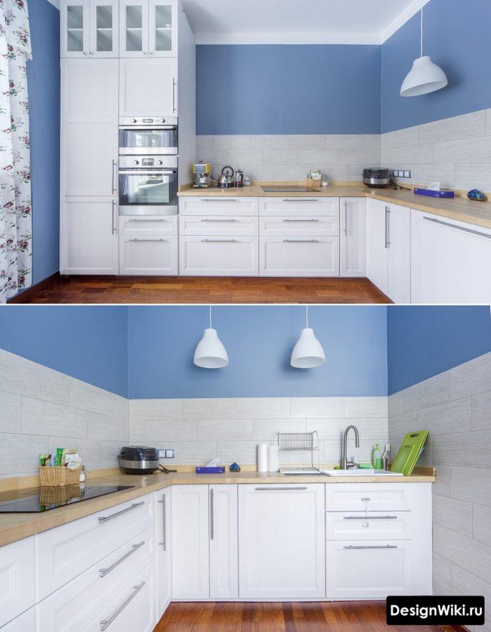 Бело-голубая угловая кухня без верхних шкафов с пеналом