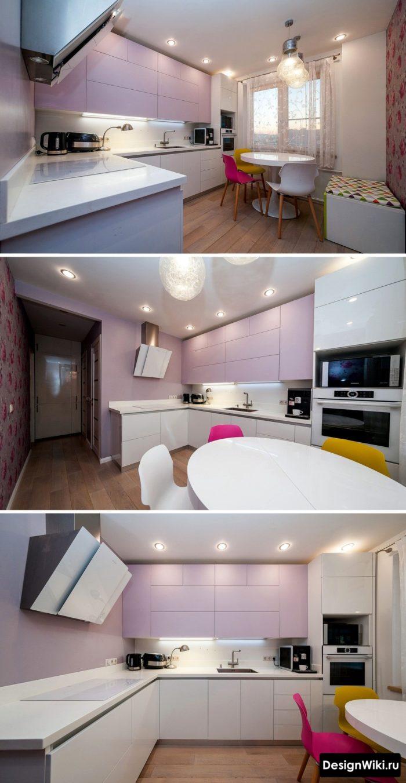 Бледно-розовый нестандартный дизайн кухни