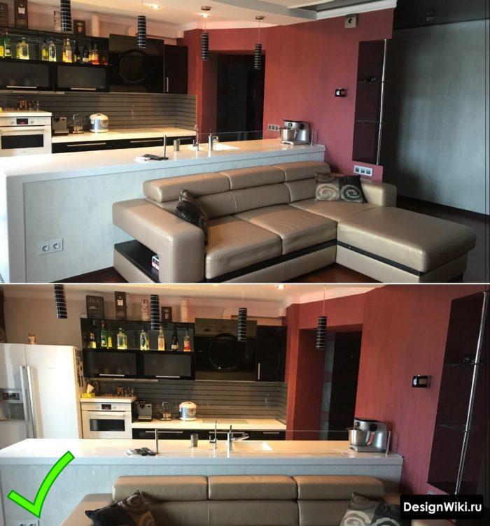 Бордовые обои на кухне в современном стиле