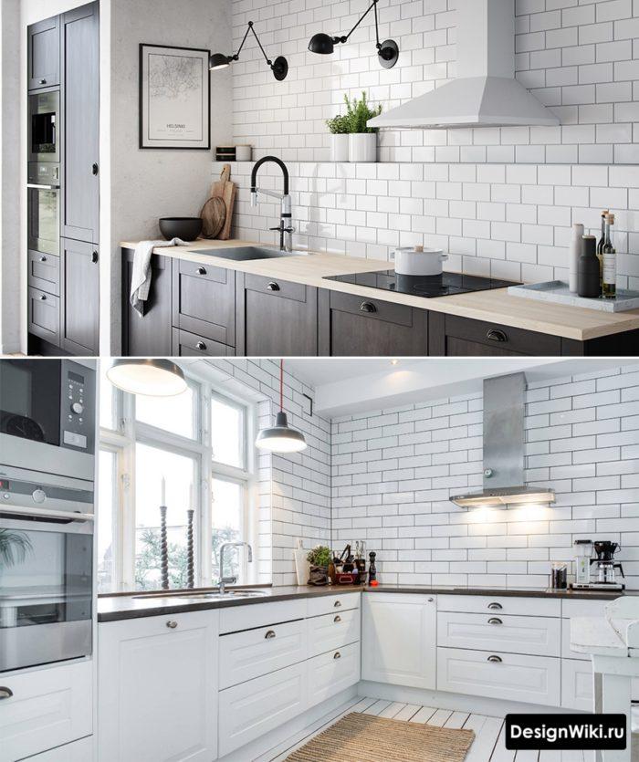 Варианты освещения кухня без верхних шкафов с фартуком белый кабанчик