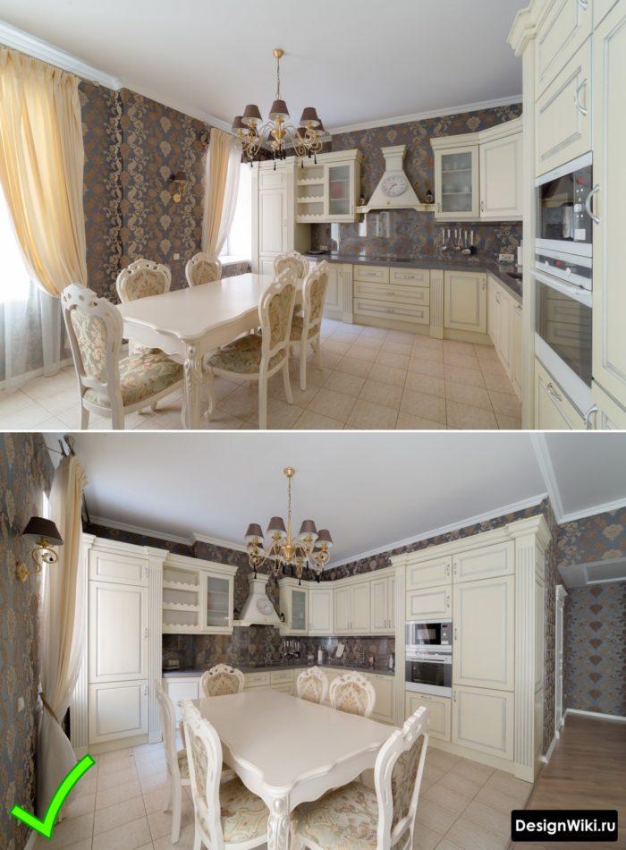 Виниловые обои на флизелиновой основе для кухни в классическом стиле