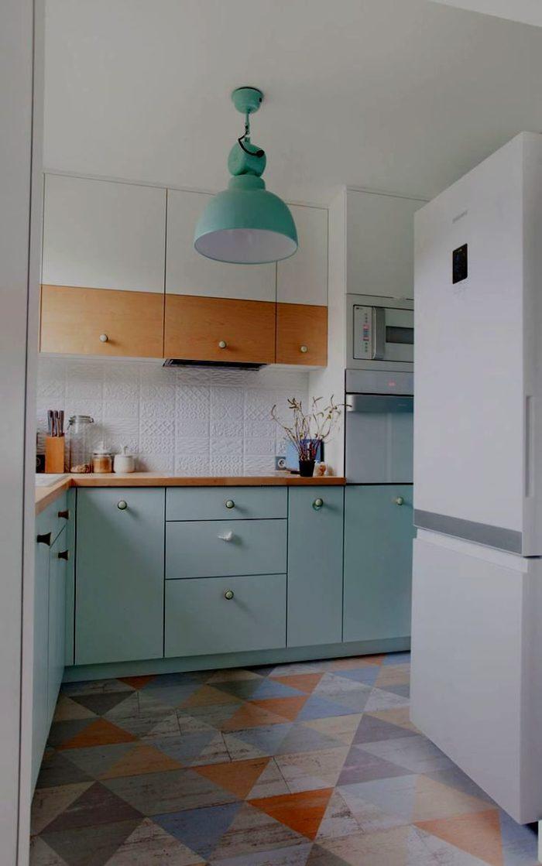 Грязно-голубой бирюзовый цвет кухни