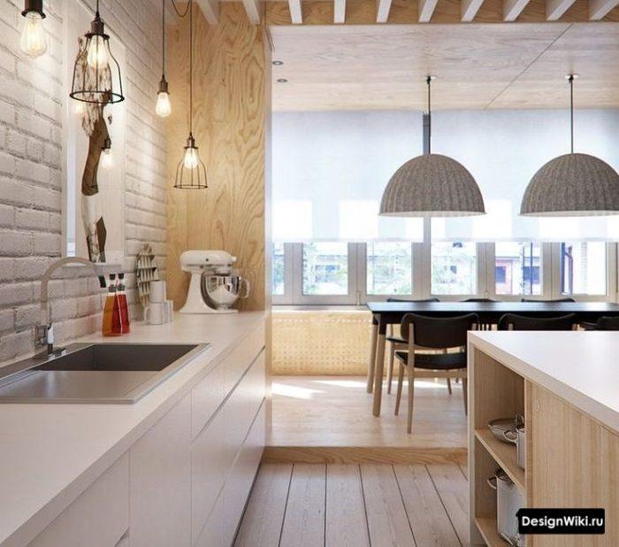 Декор кухни без верха освещением