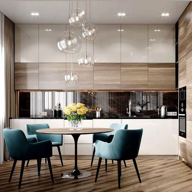 Дизайн высокой кухни до потолка